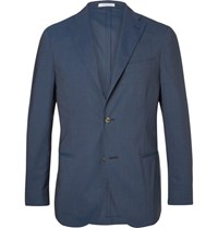 Boglioli Blue Slim Fit Stretch Wool Suit Jacket Navy