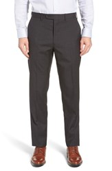 John W. Nordstrom Torino Traditional Fit Flat Front Houndstooth Trousers Charcoal