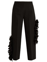 Msgm Ruffled Stretch Cady Cropped Trousers Black
