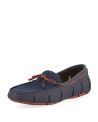 Swims Mesh And Rubber Braided Lace Boat Shoes Navy Red Lacquer