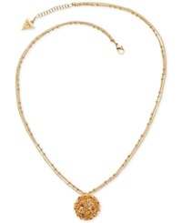 Guess Gold Tone Double Chain Stone And Filigree Pendant Necklace