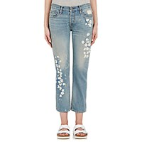 Nsf X Bliss And Mischief Women's Embroidered Straight Slouch Jeans Light Blue