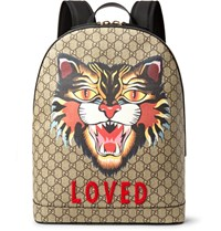 Gucci Angry Cat Leather Trimmed Appliqued Monogrammed Coated Canvas Backpack Brown