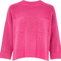 River Island Womens Bright Pink Knit Grazer Top