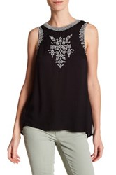 Jessica Simpson Paxti Sleeveless Embroidered Shirt Black