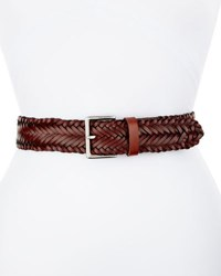 Rebecca Minkoff Wide Braided Leather Belt Brown