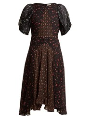Masscob Balloon Sleeve Floral Print Silk Dress Black Multi