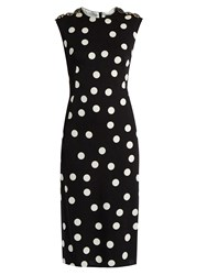 Dolce And Gabbana Polka Dot Print Silk Blend Charmeuse Dress Black Multi