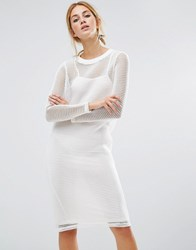 Noisy May Mesh Overlay Dress White