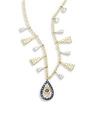 Meira T Evil Eye Diamond Blue Sapphire And 14K Two Tone Gold Pendant Necklace Gold Sapphire