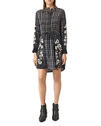 Allsaints Sanko Prairie Floral Plaid Silk Shirt Dress Black