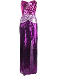 Christian Pellizzari Sequinned Colour Block Gown Pink And Purple