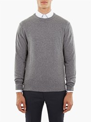 Editions M.R Grey Cashmere Detail Knitted Round Neck Sweater
