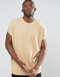 Asos Super Oversized T Shirt With Roll Sleeve In Beige Golden Rod Marl