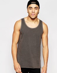 Asos Longline Vest In Grungy Stripe With Scoop Hem And Heavy Wash Multi
