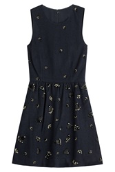 Vanessa Bruno Athe Embellished Dress With Wool Blue