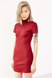 Silence And Noise Silence Noise Ponte Zip Front Bodycon Mini Dress Maroon