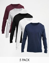 Asos Long Sleeve T Shirt With Crew Neck 5 Pack Save 25 Multi