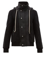 Rick Owens Dustulator Wool And Leather Hooded Jacket Black