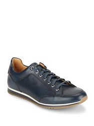 Saks Fifth Avenue Perforated Leather Sneakers Navy