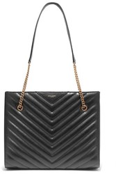 Saint Laurent Tribeca Medium Quilted Textured Leather Tote Black