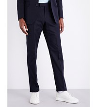 Gieves And Hawkes Regular Fit Mid Rise Cotton Poplin Trousers Navy