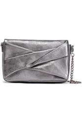 Halston Heritage Woman Metallic Layered Textured Leather Shoulder Bag Gunmetal