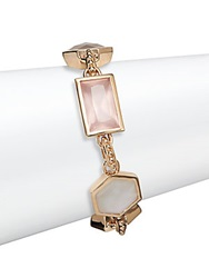Stephen Dweck Pink Chalcedony Rose Quartz Crystal Quartz And Bronze Doublet Station Bracelet Bronze Multi
