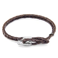 Anchor And Crew Padstow Leather Silver Braceletdark Brown 21Cm
