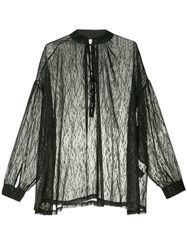Iro Oversized Mandarin Collar Shirt Black