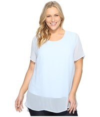 Vince Camuto Plus Size Short Sleeve Crew Neck Chiffon Overlay Blouse Dew Blue Women's Clothing