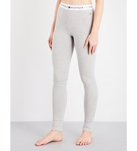 Tommy Hilfiger Logo Waistband Stretch Cotton Leggings Grey Heather