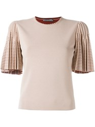 Alexander Mcqueen Pleated Sleeve Knit Top Pink And Purple