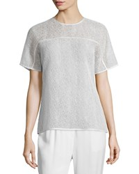 Jason Wu Short Sleeve Corded Lace T Shirt Chalk Women's