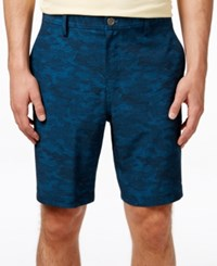 32 Degrees Men's Stretch 9' Pattern Flat Front Shorts Teal Combo