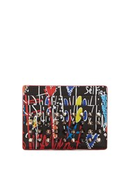 Christian Louboutin M Kios Spike Embellished Leather Cardholder Black Multi
