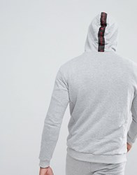 Religion Hoodie With Zip Neck And 'We Live In Black' Hood Grey