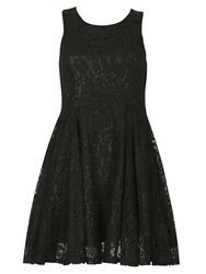 Izabel London Lace Effect Skater Dress Black