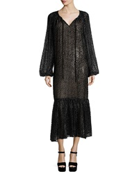 Michael Kors Long Sleeve Fil Coupe Peasant Dress Graphite