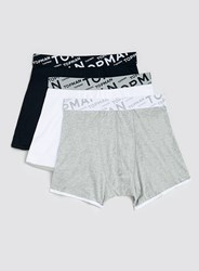 Topman Black White Grey Angle Waistband 3 Pack Underwear Multi