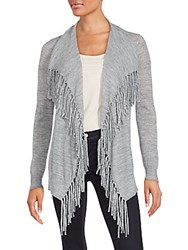 Rebecca Taylor Fringed Heathered Cardigan Grey