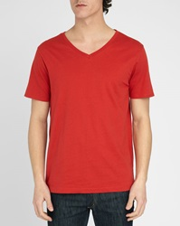 M.Studio Loic Red V Neck T Shirt In Cotton Jersey