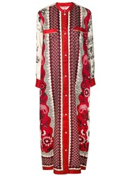 F.R.S For Restless Sleepers Mixed Print Shirt Dress Red