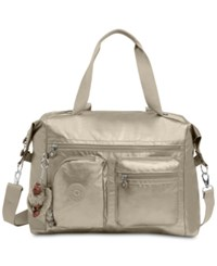 Kipling Carton Extra Large Satchel Metallic Pewter Silver