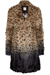 Each X Other Leopard Print Ombre Goat Hair Coat Animal Print