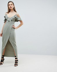 Ivyrevel Cold Shoulder Maxi Dress With Wrap Front Soft Khaki Green