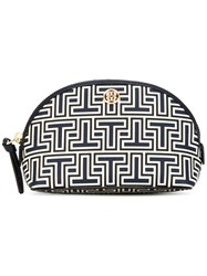 Tory Burch Logo Print Wash Bag Women Leather One Size Blue