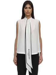 Givenchy Scarf Collar Silk Sleeveless Top White
