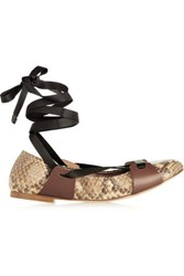 Marni Lace Up Leather Trimmed Python Ballet Flats Brown