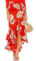 Misa Los Angeles Lucia Skirt In Red. Poppy Floral